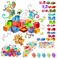 big collection of gift boxes vector image