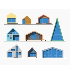 Tiny houses linear 1 color vector