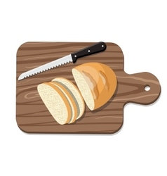 Sliced bread on slicing board with knife vector