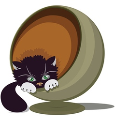 Cat in a round recliner vector