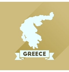 Flat icon with long shadow greece map vector