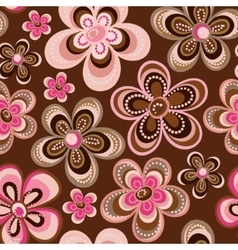 Seamless colorful retro flower background pattern vector