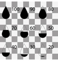 Set drop black icons square on transparent vector
