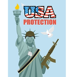 Statue of liberty and automatic military sculpture vector