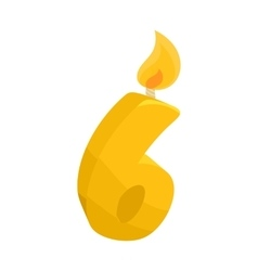 Birthday cake candle number six icon cartoon style vector