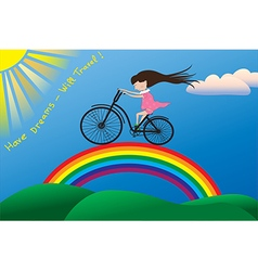 A little girl riding a bike on a rainbow vector