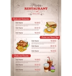 Restaurant vertical color menu vector