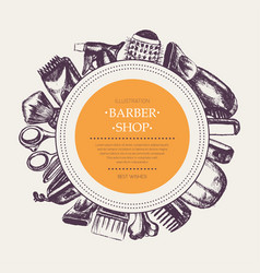 Barber equipment - hand drawn round banner vector