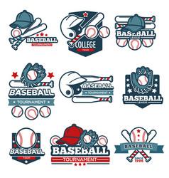 baseball icon templates set of player bat vector image