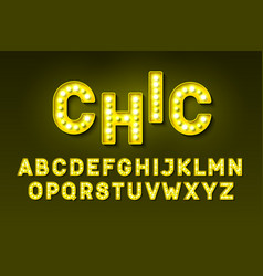 Broadway style retro light bulb font vector