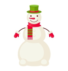 Cartoon snowman mittens isolated vector image