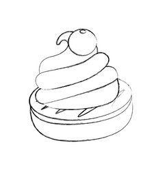 chocolate roll cake vector image vector image