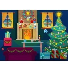 Christmas home interior with christmas tree vector