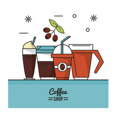 Colorful poster of coffee shop with different vector