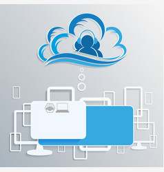 Computer cloud with silhouettes of the internet vector