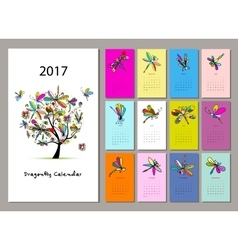 Dragonfly calendar 2017 design vector