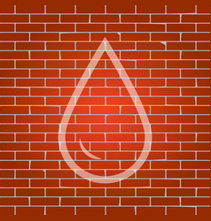 Drop of water sign whitish icon on brick vector