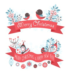 Elegant christmas greeting banners vector