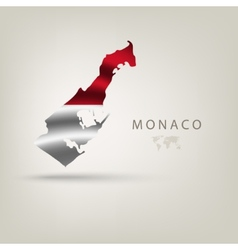 Flag of monaco as a country with a shadow vector