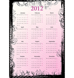 floral grungy calendar 2012 vector image vector image