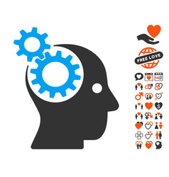 Intellect gears icon with lovely bonus vector