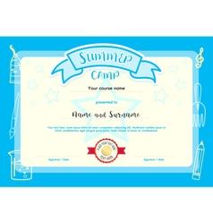 Kids summer camp document certificate template vector