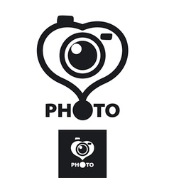 logo in the form of heart for the photographer vector image