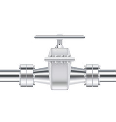 metal chrome pipe with flange and valve vector image