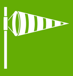 Meteorology windsock inflated by wind icon green vector