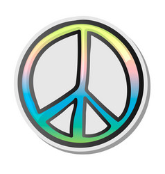 peace sign emoji sticker emoticon vector image vector image