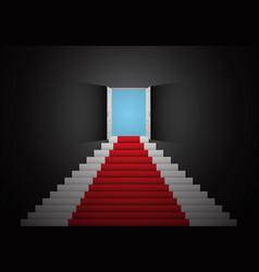 Red white stair door open top dark room 3d vector