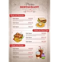 Restaurant vertical color menu vector image