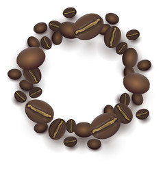 Roasted coffee beans round frame vector