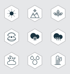 Set of 9 harmony icons includes water drops vector
