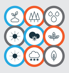 Set of 9 world icons includes sun sprout water vector