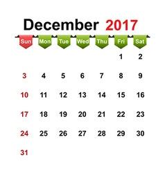 Simple calendar 2017 year december month vector