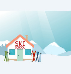 Ski school advertisement layout vector