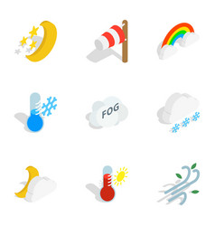 Weather icons isometric 3d style vector