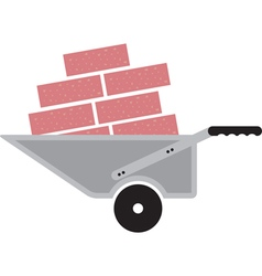 wheelbarrow with bricks vector image