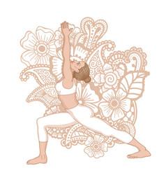 Women silhouette warrior 1 yoga pose vector