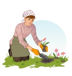 Young woman planting flowers in garden vector