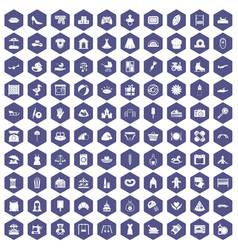 100 motherhood icons hexagon purple vector