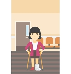 Woman with broken leg and crutches vector