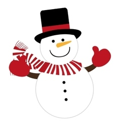 Snowman character cute christmas vector