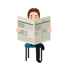 Avatar man reading a newspaper vector