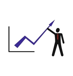 Modern flat icon man and graph on white background vector