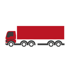 Red lorry icon in flat design isolated on white vector