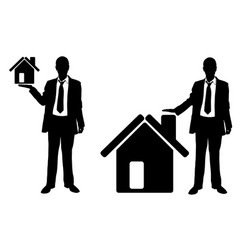 businessmen presenting houses vector image