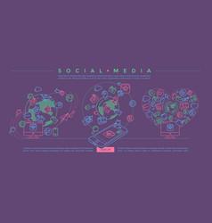 Social media colorful linear vector