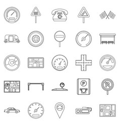 Engine icons set outline style vector